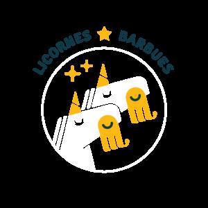 Logo licornes barbues blanc